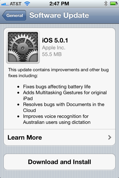 Image of iPhone update for 5.0.1